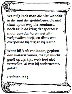 Welzalig is de man psalmen 1 vers 1 tot 3